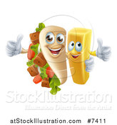 Vector Illustration of a Souvlaki Kebab Sandwich Mascot and French Fry Character Giving Thumbs up by AtStockIllustration