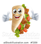 Vector Illustration of a Souvlaki Kebab Sandwich Mascot Giving Two Thumbs up by AtStockIllustration