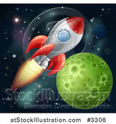 Vector Illustration of a Space Shuttle Rocket Flying in Outer Space near a Green Planet by AtStockIllustration