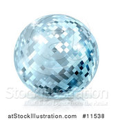 Vector Illustration of a Sparkly Blue Disco Mirror Ball, on a Shaded White Background by AtStockIllustration