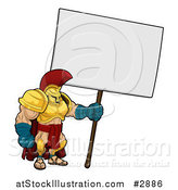 Vector Illustration of a Spartan Trojan Soldier Standing with a Blank Sign by AtStockIllustration