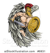Vector Illustration of a Spartan Trojan Warrior Angel Running with a Sword and Shield by AtStockIllustration