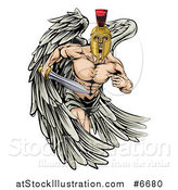 Vector Illustration of a Spartan Trojan Warrior Angel Running with a Sword by AtStockIllustration