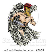 Vector Illustration of a Spartan Trojan Warrior Guardian Angel Running with a Sword by AtStockIllustration