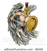 Vector Illustration of a Spartan Trojan Warrior Guardian Angel with a Sword and Shield by AtStockIllustration
