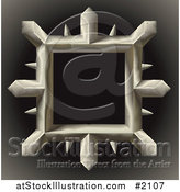 Vector Illustration of a Spiked Metal Frame on Gradient Black by AtStockIllustration