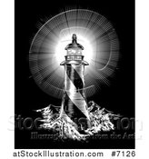 Vector Illustration of a Spiral Lighthouse and Shining Beacon Engraved on Black by AtStockIllustration