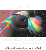 Vector Illustration of a Spiraling Rainbow Background by AtStockIllustration
