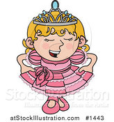 Vector Illustration of a Spoiled Blond Princess Girl in a Pink Dress and Crown by AtStockIllustration