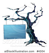 Vector Illustration of a Spooky Dead Tree and Blank Wooden Halloween Sign by AtStockIllustration