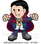 Vector Illustration of a Spooky Dracula Vampire in a Cape, Reaching His Hands Outwards and Showing His Fangs by AtStockIllustration