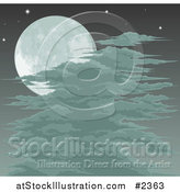 Vector Illustration of a Spooky Full Moon Sky with Clouds or Fog by AtStockIllustration