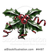 Vector Illustration of a Sprig of Christmas Holly with Red Berries and Curly Ribbons by AtStockIllustration