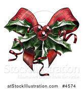 Vector Illustration of a Sprig of Christmas Holly with Red Berries and Curly Ribbons over a Bow by AtStockIllustration