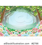 Vector Illustration of a Spring Time Wildlflowers Growing Under a Canopy of Trees by AtStockIllustration