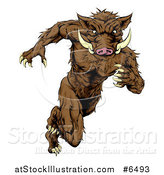 Vector Illustration of a Sprinting Muscular Boar Man by AtStockIllustration