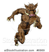 Vector Illustration of a Sprinting Muscular Boar Man Running Upright by AtStockIllustration