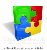 Vector Illustration of a Square of 3d Colorful Jigsaw Puzzle Pieces and a Shadow by AtStockIllustration
