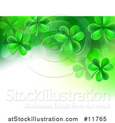 Vector Illustration of a St Patricks Day Background with Green Shamrocks and Text Space by AtStockIllustration
