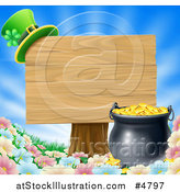 Vector Illustration of a St Patricks Day Leprechaun Hat on a Wooden Sign over a Pot of Gold and Flowers by AtStockIllustration