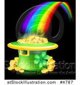 Vector Illustration of a St Patricks Day Leprechaun Hat Pot of Gold and Rainbow on Black by AtStockIllustration