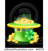 Vector Illustration of a St Patricks Day Leprechaun Hat with Shining Gold Coins and a Shamrock on Black by AtStockIllustration