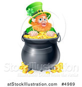 Vector Illustration of a St Patricks Day Leprechaun Looking over a Pot of Gold Coins by AtStockIllustration