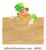 Vector Illustration of a St Patricks Day Leprechaun Pointing down to a Wooden Sign by AtStockIllustration