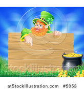 Vector Illustration of a St Patricks Day Leprechaun Pointing down to a Wooden Sign over a Pot of Gold, Grass and Sky by AtStockIllustration