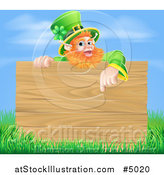 Vector Illustration of a St Patricks Day Leprechaun Pointing down to a Wooden Sign over Grass and Sky by AtStockIllustration
