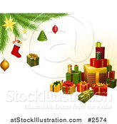 Vector Illustration of a Stack of 3d Gifts Under a Christmas Tree with Festive Ornaments by AtStockIllustration