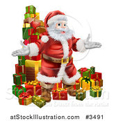 Vector Illustration of a Stack of Presents and Santa by AtStockIllustration