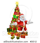 Vector Illustration of a Stack of Presents and Welcoming Santa by AtStockIllustration
