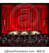 Vector Illustration of a Stage with Red Curtains by AtStockIllustration