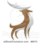 Vector Illustration of a Standing Brown and White Stag Deer Buck by AtStockIllustration