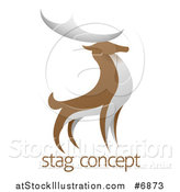 Vector Illustration of a Standing Brown and White Stag Deer Buck over Sample Text by AtStockIllustration