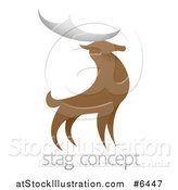 Vector Illustration of a Standing Stag Deer Buck over Sample Text by AtStockIllustration