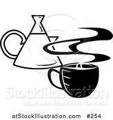 Vector Illustration of a Steaming Hot Cup of Coffee and a Coffee Pot by AtStockIllustration