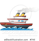 Vector Illustration of a Steamship Boat on the Ocean by AtStockIllustration