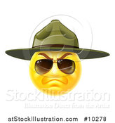 Vector Illustration of a Stern Emoji Smiley Face Emoticon Face Army Drill Sergeant Wearing Sunglasses and a Hat by AtStockIllustration