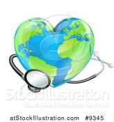 Vector Illustration of a Stethoscope Around a Heart Earth Globe by AtStockIllustration