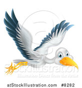 Vector Illustration of a Stork Bird in Flight by AtStockIllustration