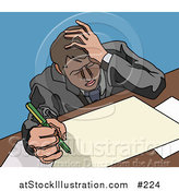 Vector Illustration of a Stressed Business Man Doing Paperwork at a Desk by AtStockIllustration