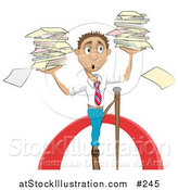 Vector Illustration of a Stressed Businessman Carrying Stacks of Papers While Walking on a Tightrope by AtStockIllustration