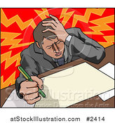 Vector Illustration of a Stressed Businessman with a Headache Working on Documents by AtStockIllustration