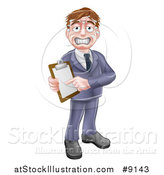 Vector Illustration of a Stressed Sweaty Business or Sales Man Holding and Pointing to a Clipboard by AtStockIllustration