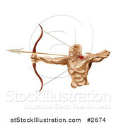 Vector Illustration of a Strong Archer Aiming an Arrow by AtStockIllustration