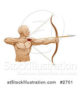 Vector Illustration of a Strong Archer Facing Right and Aiming an Arrow by AtStockIllustration