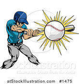 Vector Illustration of a Strong Athletic Caucasian Man in Uniform, Swinging a Bat and Making Contact with a Baseball by AtStockIllustration
