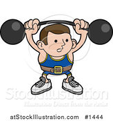 Vector Illustration of a Strong Body Builder Holding a Heavy Barbell Above His Head and Wearing a Belt by AtStockIllustration